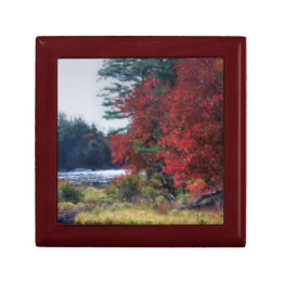 Autumn Foliage Pond Nature Art Jewelry Box
