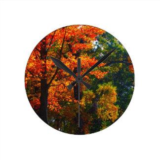Autumn foliage round clock
