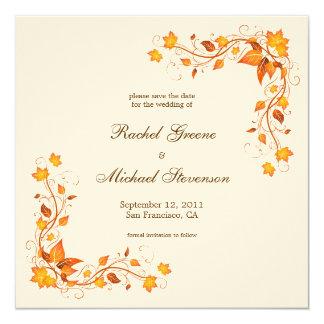 Autumn Foliage Save the Date Wedding Card