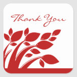 Autumn Foliage Thank You Stickers, Red