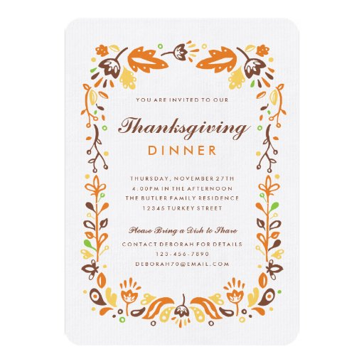 autumn foliage thanksgiving dinner invitations