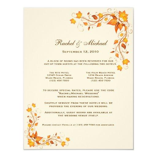 "Autumn Foliage Wedding Accomodations Card 4.25"" X 5.5"" Invitation Card"