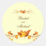 Autumn Foliage Wedding Envelope Seals Round Stickers