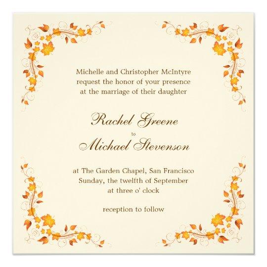 Fall Color Wedding Invitations: Autumn Foliage Wedding Invitation Card