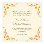 """Autumn Foliage Wedding Invitation Card 5.25"""" Square Invitation Card"""