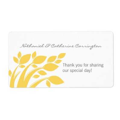Autumn Foliage Wedding Labels, Yellow Label