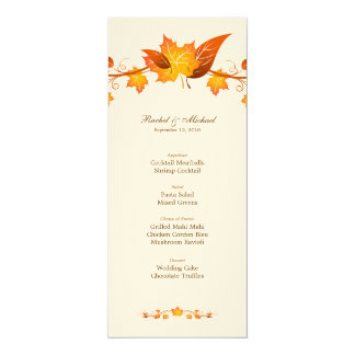 Autumn Foliage Wedding Menu Card