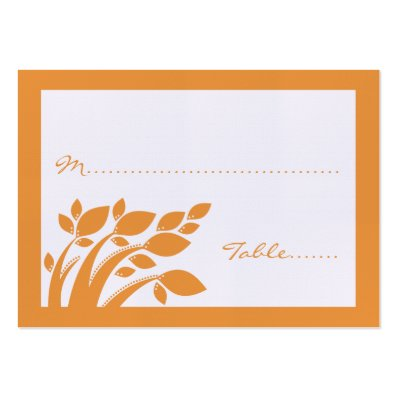 Autumn Foliage Wedding Place Card Large Business Card