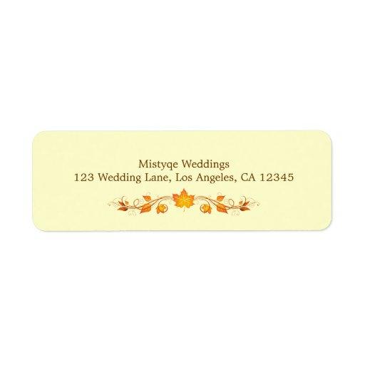 autumn foliage wedding return address label zazzle