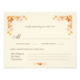Autumn Foliage Wedding RSVP Card with Envelope Custom Announcements