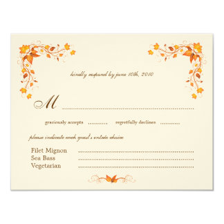 "Autumn Foliage Wedding RSVP Card with Envelope 4.25"" X 5.5"" Invitation Card"