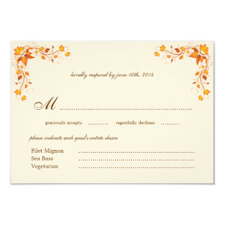 "Autumn Foliage Wedding RSVP Card with Envelope 3.5"" X 5"" Invitation Card"