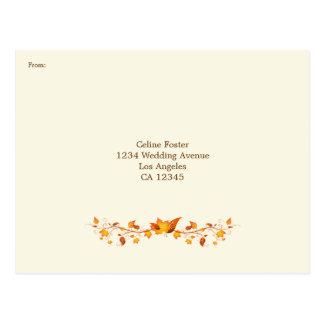 Autumn Foliage Wedding RSVP Postcard