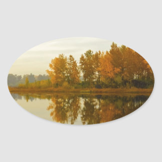Autumn Forest by the River Oval Sticker