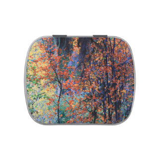 Autumn Forest, Impressionist Painting Pill Box Jelly Belly Candy Tins
