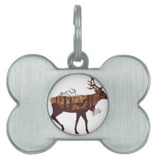 Autumn Forest Landscape and Deer 2 Pet Name Tag