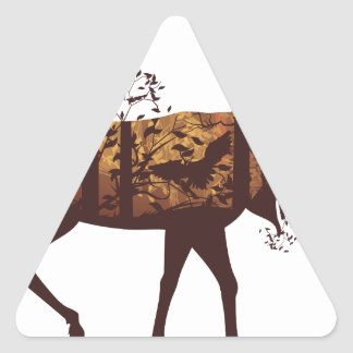 Autumn Forest Landscape and Deer 2 Triangle Sticker