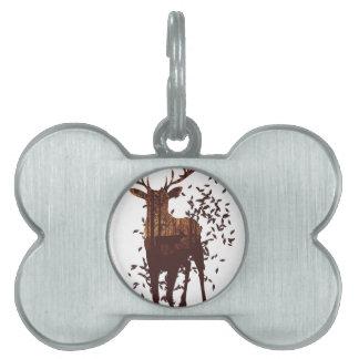 Autumn Forest Landscape and Deer Pet Tag