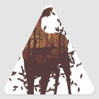 Autumn Forest Landscape and Deer Triangle Sticker