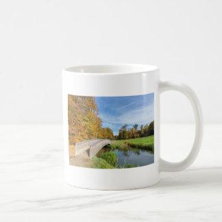 Autumn forest landscape with wooden bridge over wa coffee mug