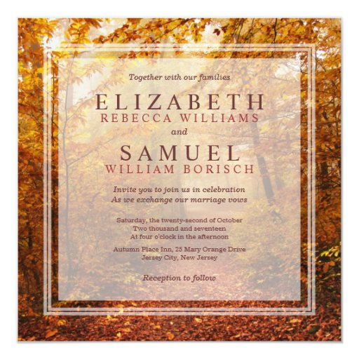 Autumn Forest Path square Wedding Invitation