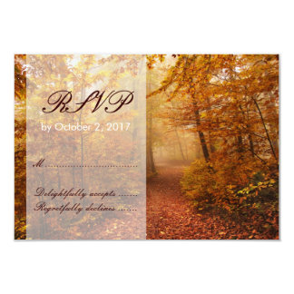 Autumn Forest Path Wedding RSVP Response Card Invitations