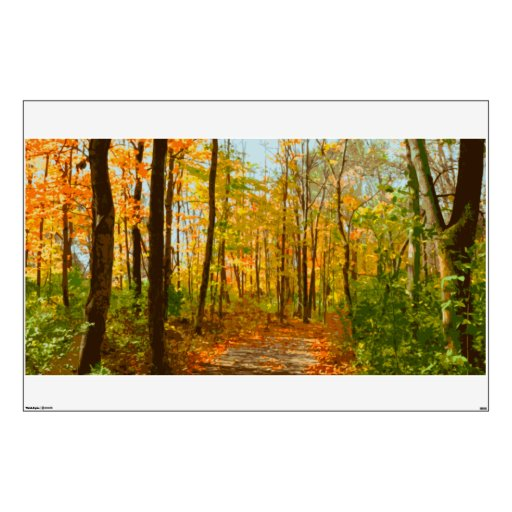 Autumn forest wall mural decal room decals zazzle for Autumn wall mural