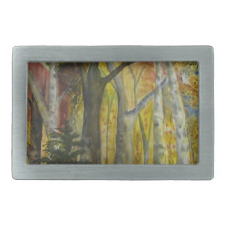 Autumn Forest Watercolor Rectangular Belt Buckle