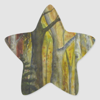 Autumn Forest Watercolor Star Sticker