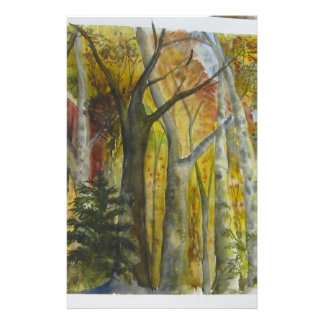 Autumn Forest Watercolor Stationery