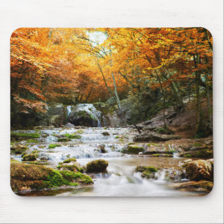 Autumn Forest Waterfall Mouse Pad