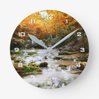 Autumn Forest Waterfall Wall Clock
