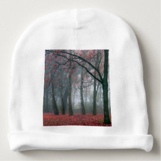 Autumn Forest with Red Leaves.beautiful landscape Baby Beanie