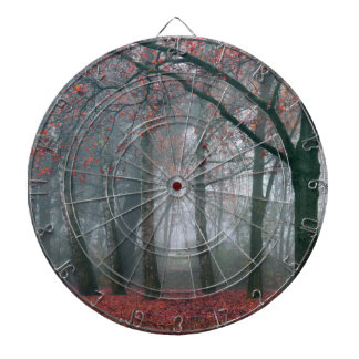 Autumn Forest with Red Leaves.beautiful landscape Dart Board
