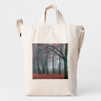 Autumn Forest with Red Leaves.beautiful landscape Duck Bag