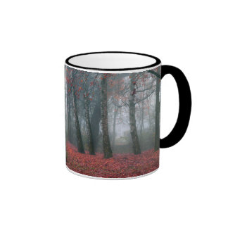 Autumn Forest with Red Leaves.beautiful landscape Ringer Mug