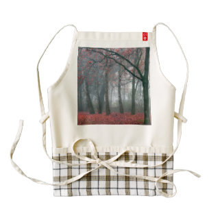 Autumn Forest with Red Leaves.beautiful landscape Zazzle HEART Apron