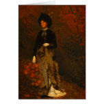 Autumn Forest with Wandering Woman Greeting Card