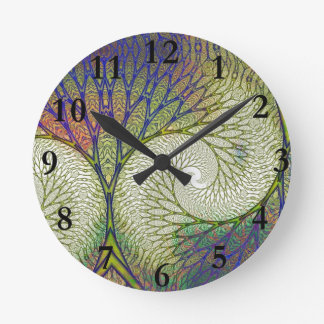 Autumn Fractal Tree Round Clock