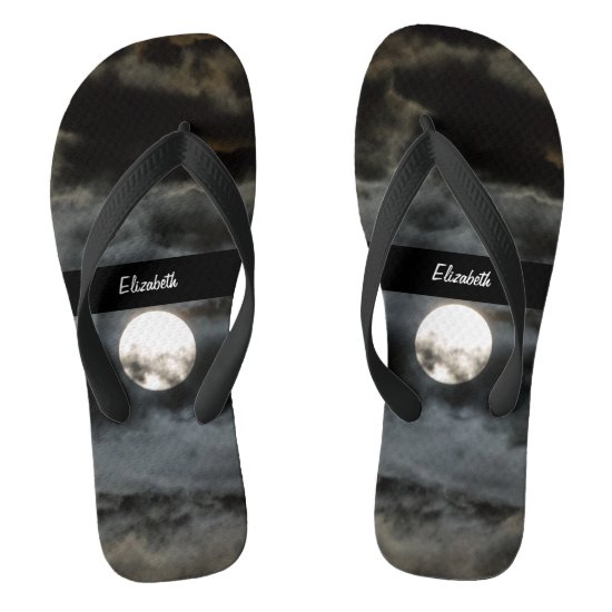 Autumn Full Moon Black Clouds 128 Flip Flops
