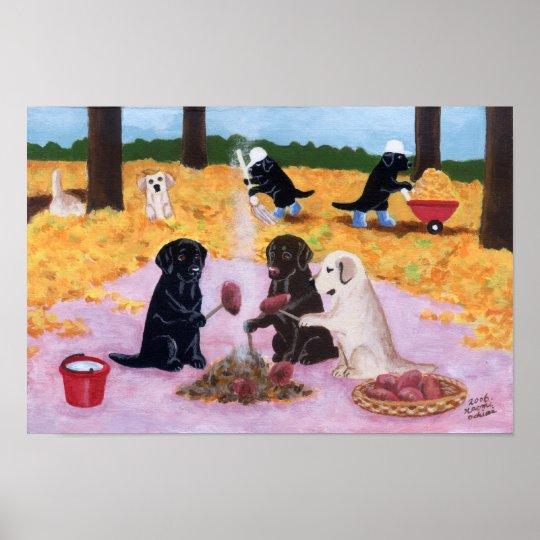 Autumn Fun Labradors Artwork Poster