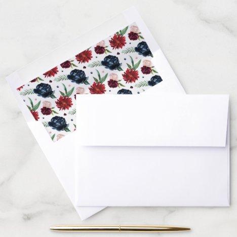 Autumn Garden | Burgundy Large Floral Pattern Envelope Liner