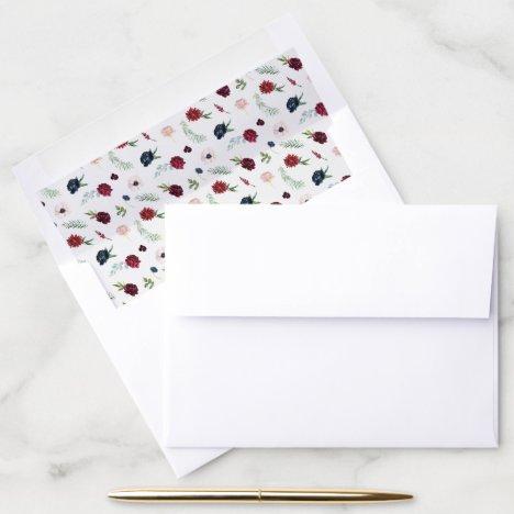 Autumn Garden | Burgundy Pattern Envelope Liner