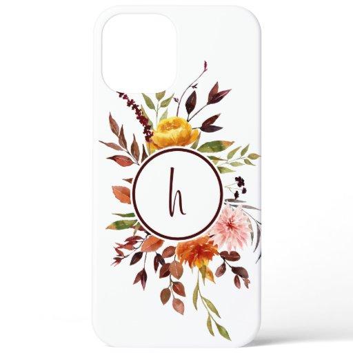 Autumn Garden Burgundy Watercolor Monogram iPhone 12 Pro Max Case