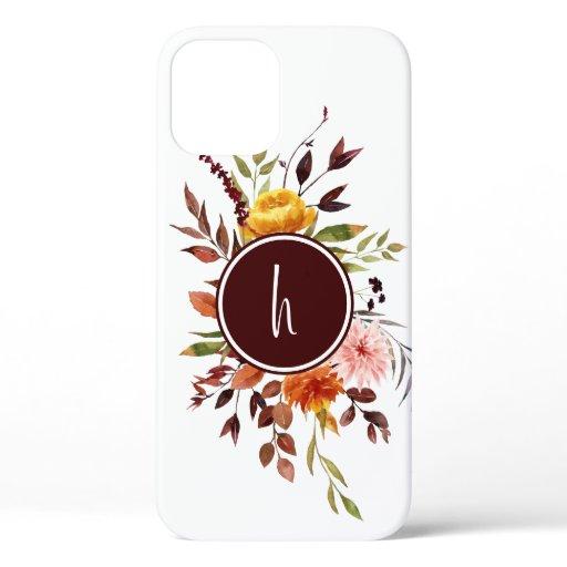 Autumn Garden Burgundy Watercolor Monogram iPhone 12 Case