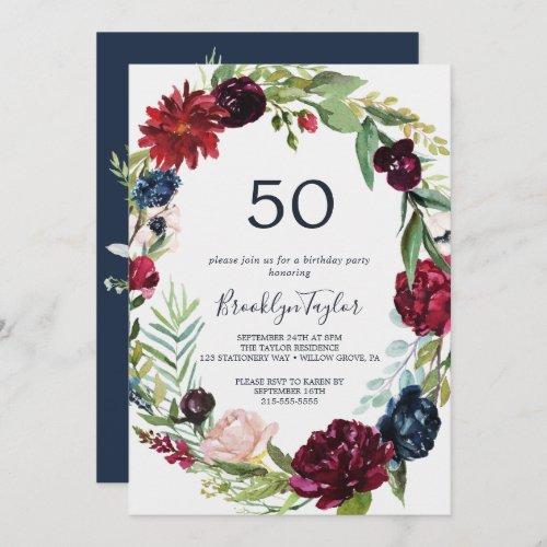 Autumn Garden  Burgundy Wreath 50th Birthday Invitation