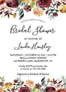 60 off garden bridal shower invitations shop now to save zazzle autumn garden red orange floral fall bridal shower invitation filmwisefo