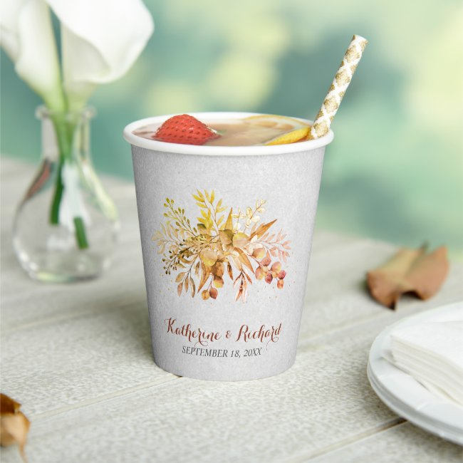 Autumn Garden Wedding Paper Cups
