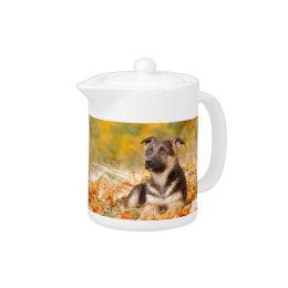 Autumn German shepherd dog puppy Teapot