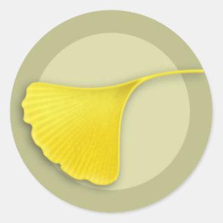 Autumn Ginkgo Leaf Round Sticker